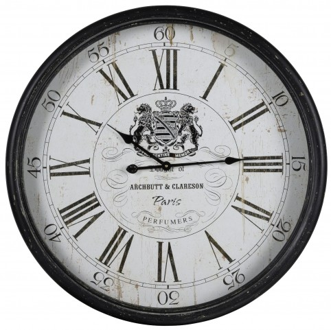 Wellesley Aged Black Metal Clock