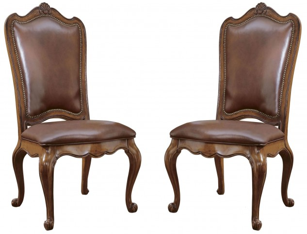 Villa Cortina Upholstered Back Leather Side Chair Set of 2