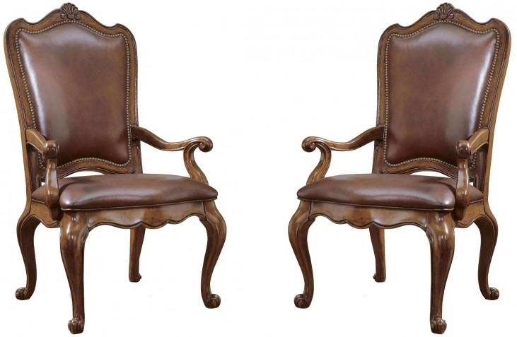 Villa Cortina Upholstered Back Leather Arm Chair Set of 2