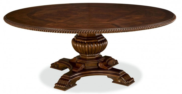 Villa Cortina Round Single Pedestal Extendable Dining Room Table