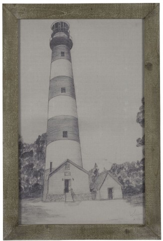 Lighthouse Grey Driftwood Framed Print Wall Art