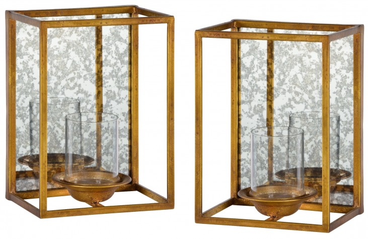 Avery Gold Leaf Candle Holder Set of 2
