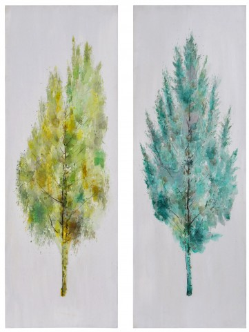 Hand Painted Seasons Wall Art Set of 2