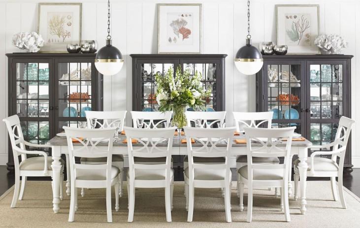 Coastal Living Retreat Saltbox White Rectangular Leg Dining Room Set