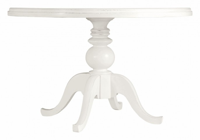 Coastal Living Saltbox White Painted Top Round Pedestal Dining Table