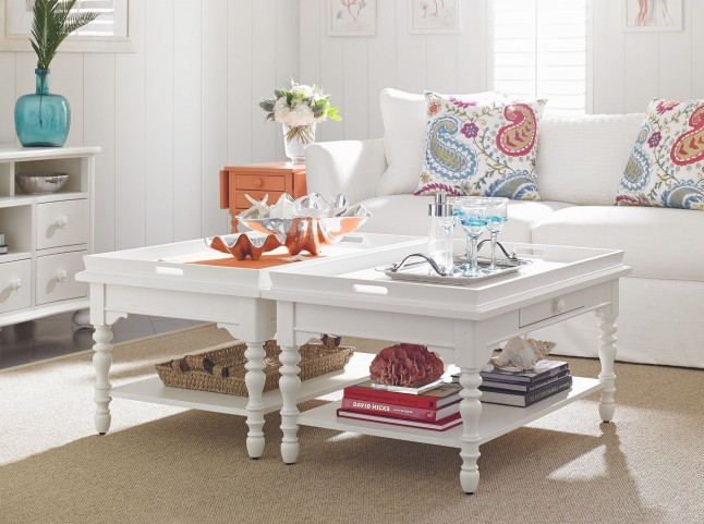 Coastal Living Retreat Saltbox White Occasional Table Set
