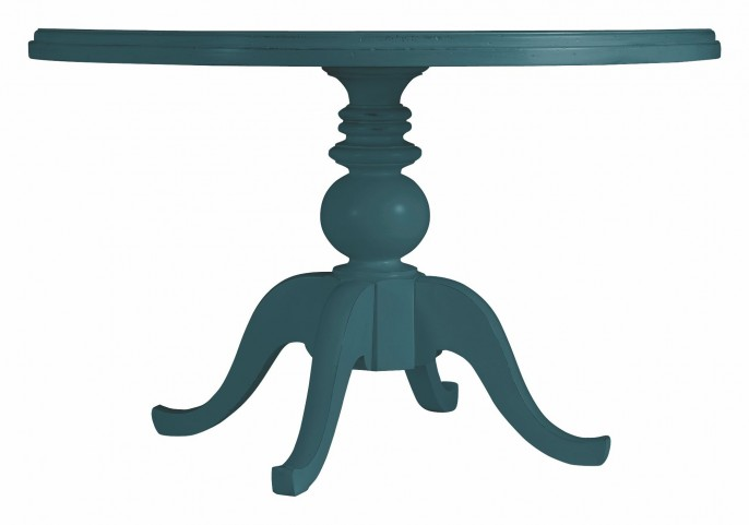 Coastal Living English Blue Round Painted Top Pedestal Table