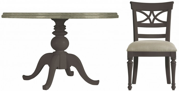 Coastal Living Gloucester Grey Round Pedestal Wood Top Dining Room Set