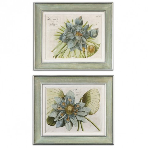 Blue Lotus Flower Art Set of 2