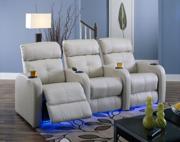 Stereo Vinyl Power Reclining Home Theatre Seating