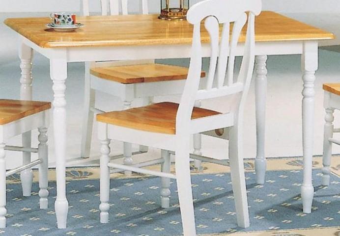 Damen Natural/White Rectangular Leg Dining Table 4147