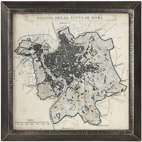 City Plan of Rome Black Print Map