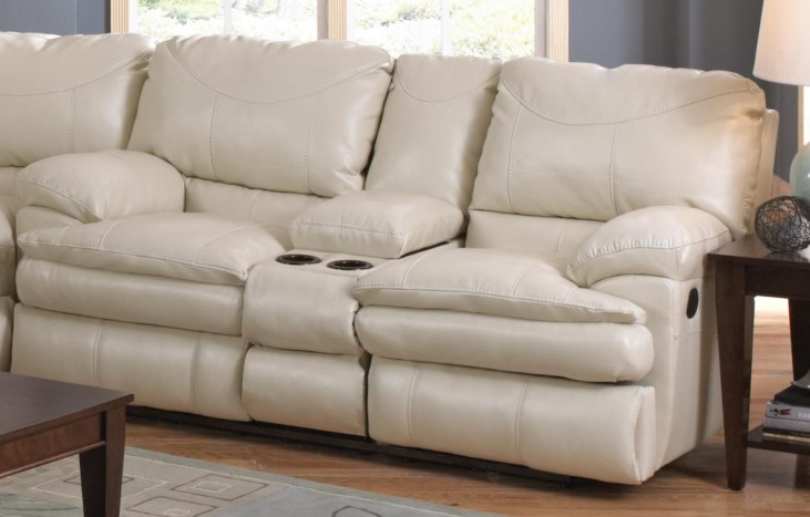 Perez Ice Reclining Loveseat with Console