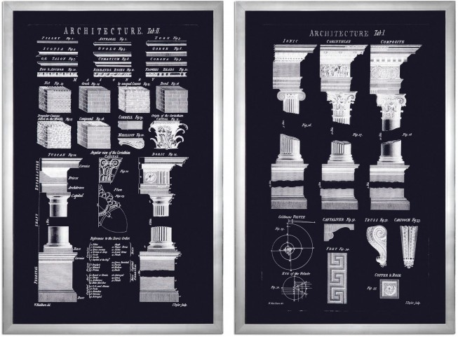 Architectural Elements Wall Prints Set of 2