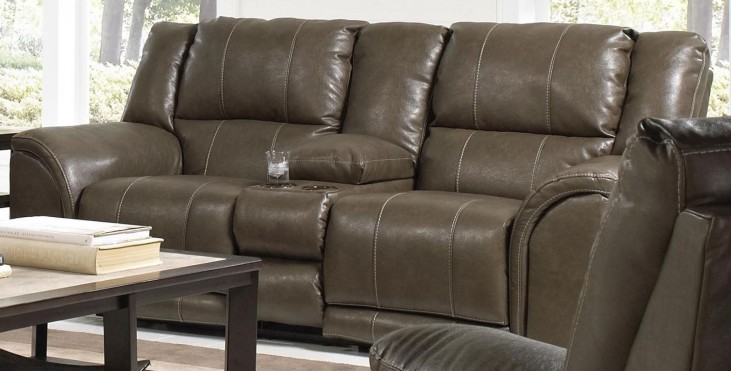 Carmine Smoke Reclining Loveseat with Console