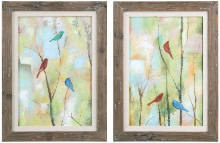 Birds Of Spring Hand Painted Art Set of 2