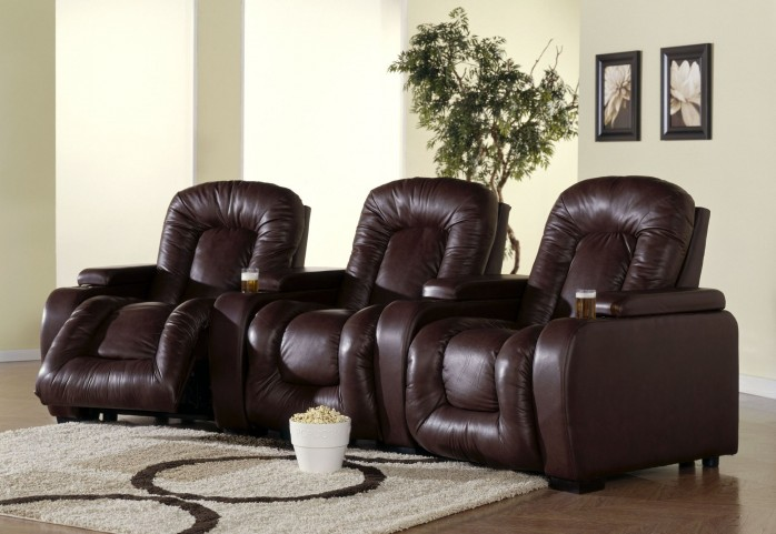 Rhumba Bonded Leather Power Reclining Home Theatre Seating