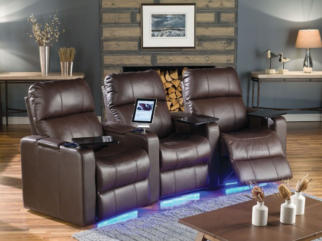 Elite Bonded Leather Power Reclining Home Theatre Seating
