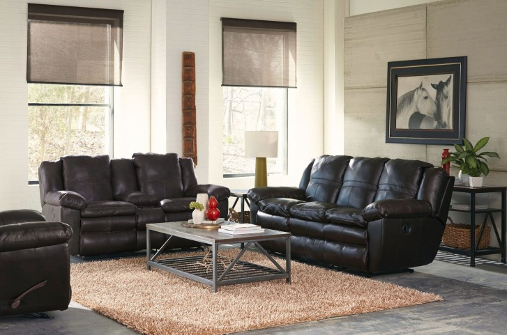 Aria Chocolate Lay Flat Reclining Living Room Set