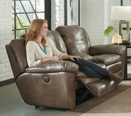 Aria Smoke Lay Flat Reclining Console Loveseat