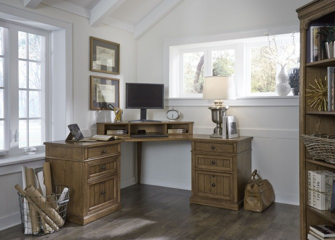 Cumberland Creek Rustic Oak Home Office Set