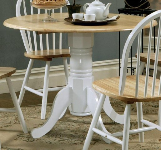 Damen Natural/White Natural Drop Leaf Table With Empire Base