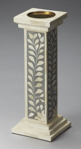 Hors D'Oeuvres Gray Bone Inlay Candle Holder
