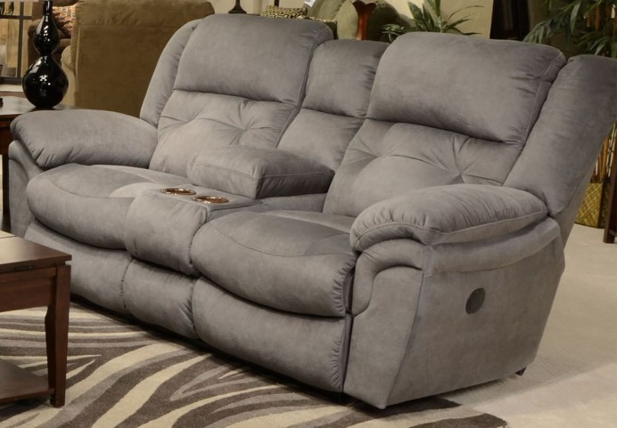 Joyner Slate Reclining Loveseat with Console