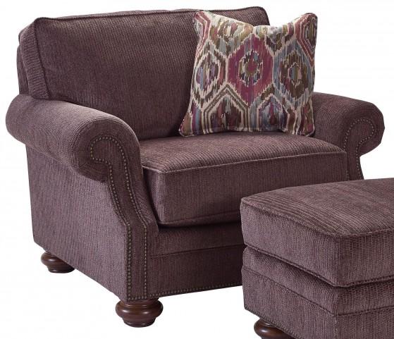 Heuer Walnut Chenille Fabric Chair & A Half