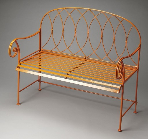 Ellipses Metalworks Orange Bench