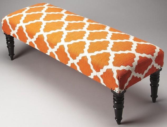 Lyon Orange Quatrefoil Upholstered Bench