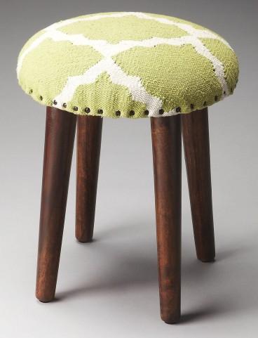 Rochon Lime Quatrefoil Upholstered Stool