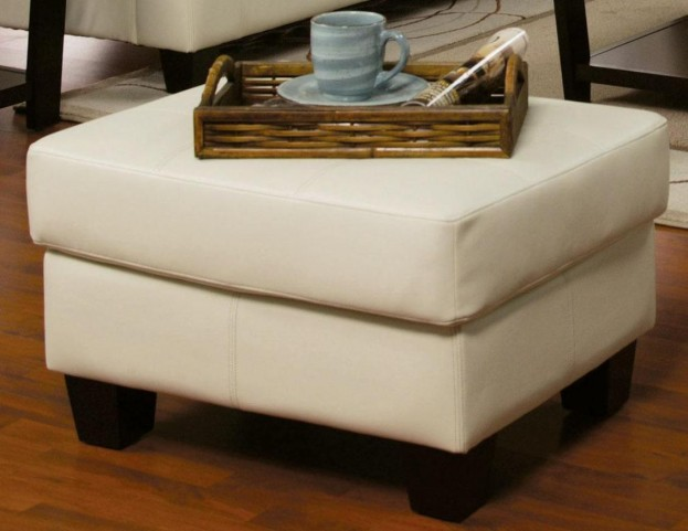 Samuel Cream Leather Ottoman - 501694