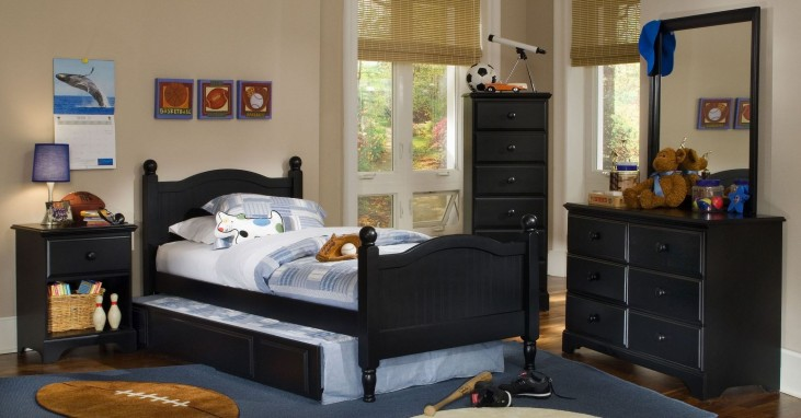 Midnight Black Youth Cottage Panel Bedroom Set