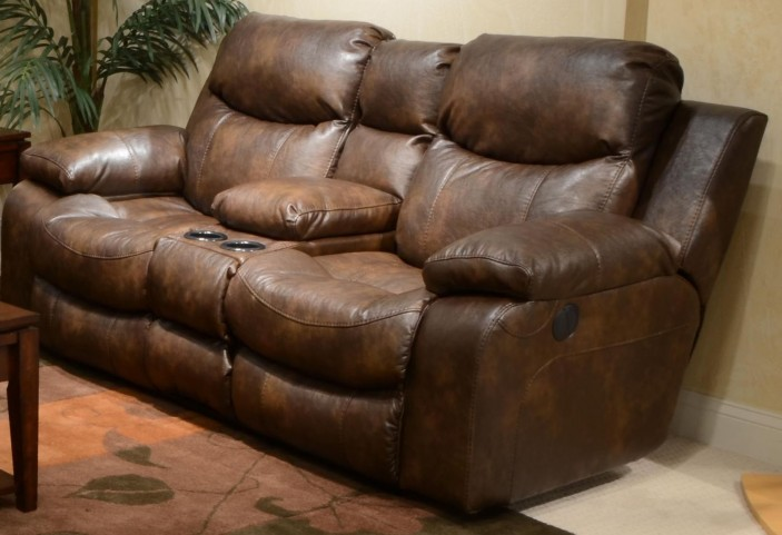 Catalina Timber Reclining Loveseat with Console