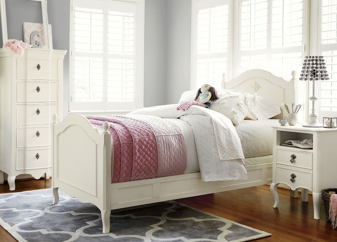 Genevieve French White Youth Reading Bedroom Set
