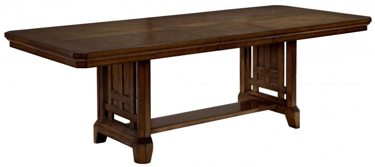 Estes Park Artisan Oak Rectangular Extendable Trestle Dining Table