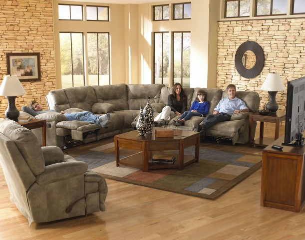 Voyager Brandy Power Reclining Sectional