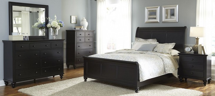 Hamilton III Black Sleigh Bedroom Set