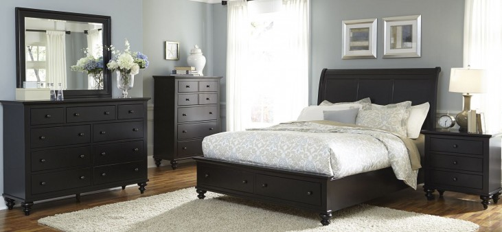 Hamilton III Black Sleigh Storage Bedroom Set