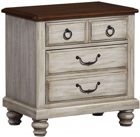 Arrendelle Rustic White and Cherry 2 Drawer Nightstand