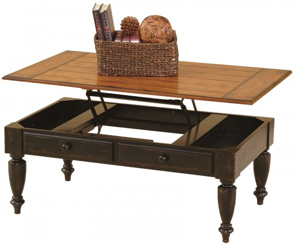 Country Vista Antique Black and Golden Lift-Top Cocktail Table