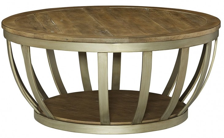 Modern Theory Aged Natural Round Cocktail Table