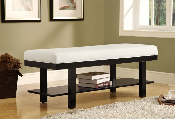 4526 Black Solid Wood / White Bench