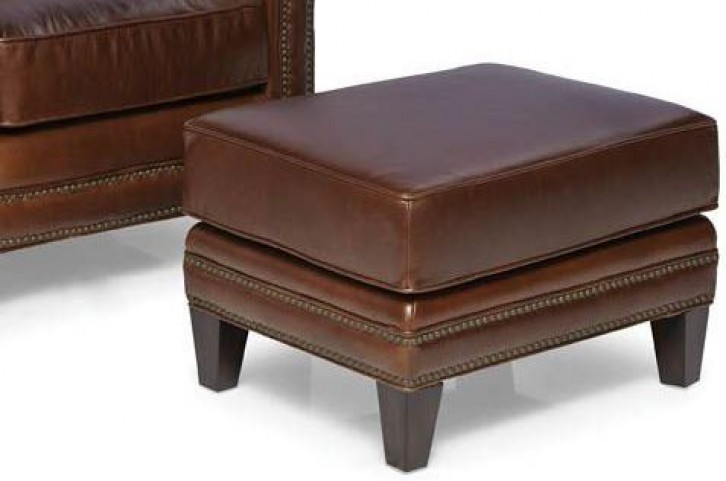 Pendleton Trends Walnut Leather Ottoman