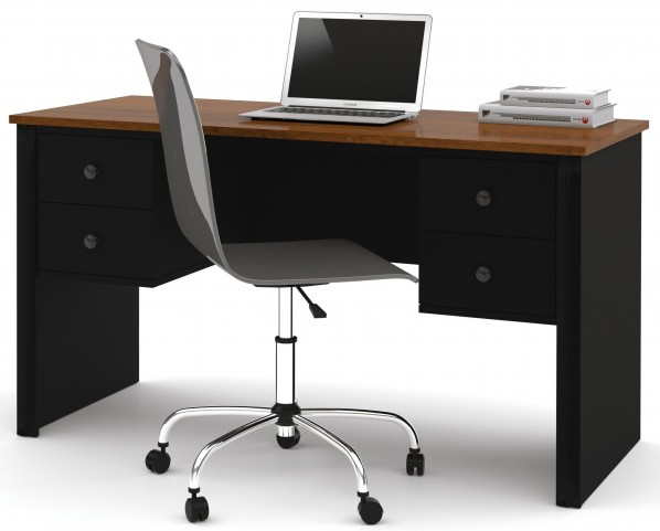 Somerville Black & Tuscany Brown Workstation With Two Pedestals