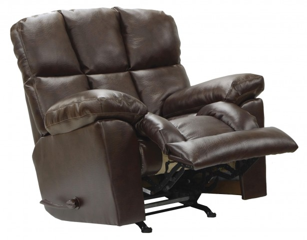 Griffey Java Bonded Leather Chaise Rocker Recliner