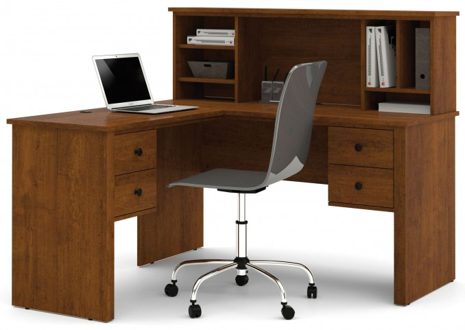 Somerville Tuscany Brown L-Shaped Desk With Hutch