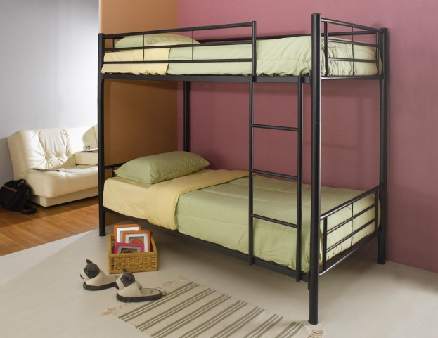 Black Twin Over Twin Metal Bunkbed 460072B