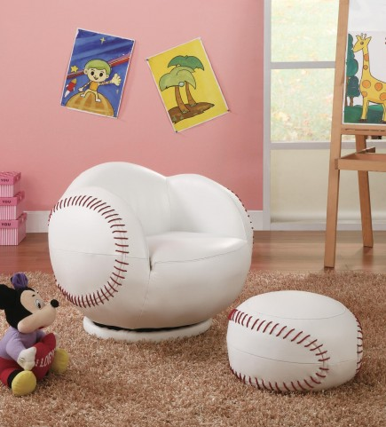 White Small Kids Baseball Chair 460177